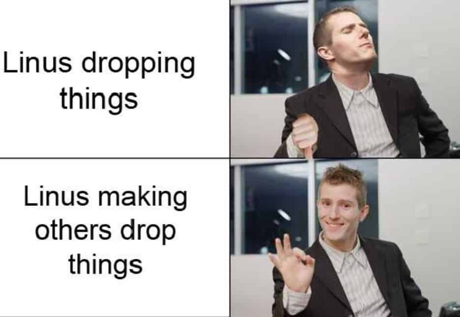 Linus Dropping Things Tips Meme