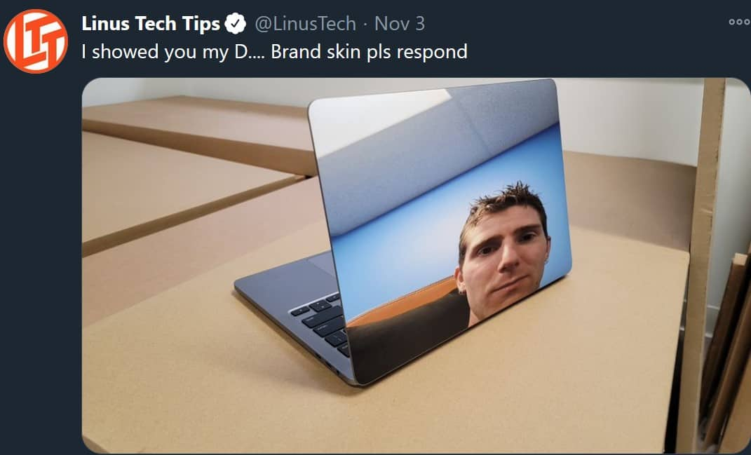 Brand Skin PLS Respond - Linus Tech Tips Meme
